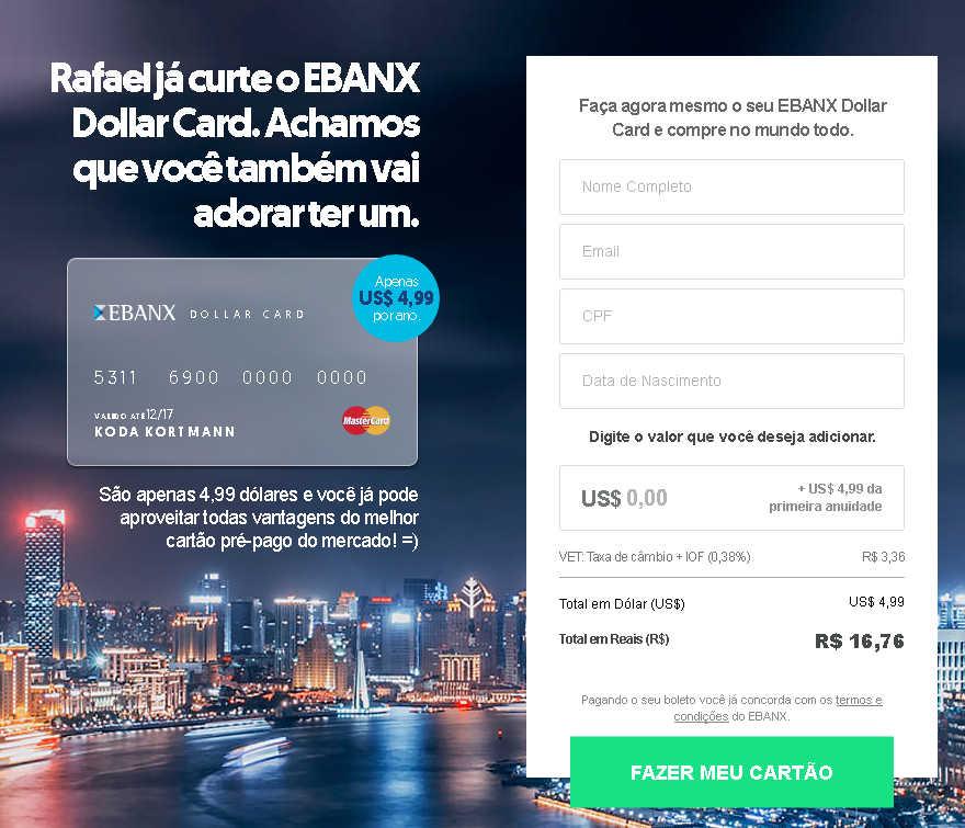 Solicitar Cartão Pré-pago Ebanx Dollar Card