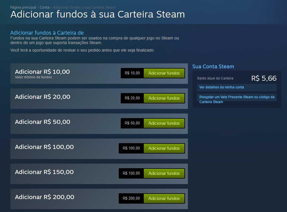 Adicionar Fundos Steam 3