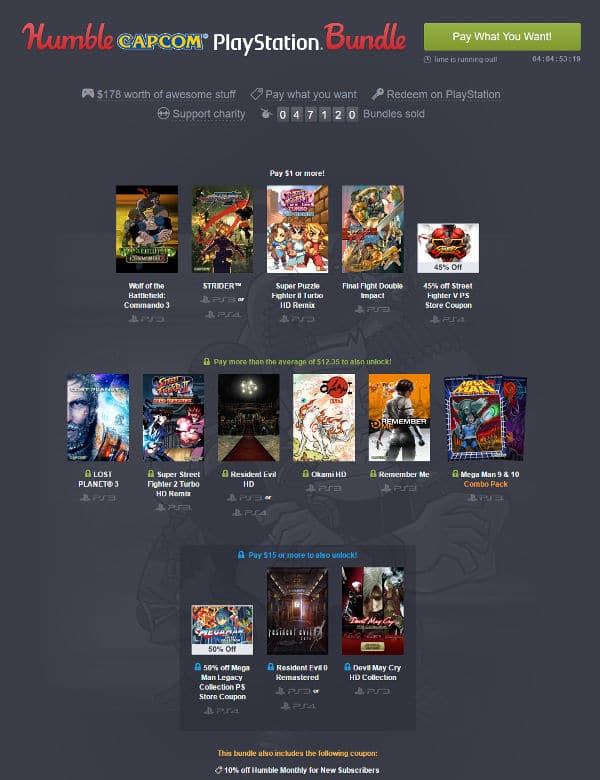 Humble bundle Capcom PlayStation