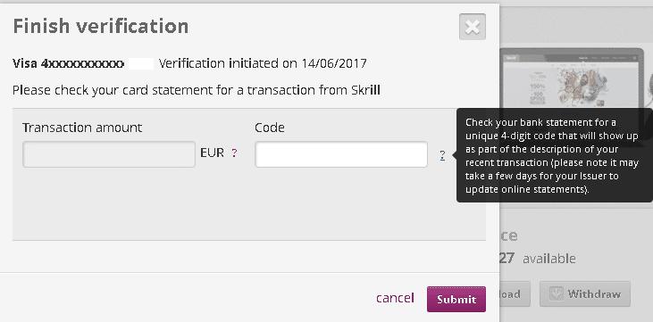 Adicionar e verificar cartão de credito na Skrill 8