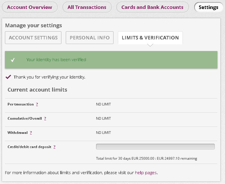 Identidade confirmada e cartão de credito verificado na Skrill