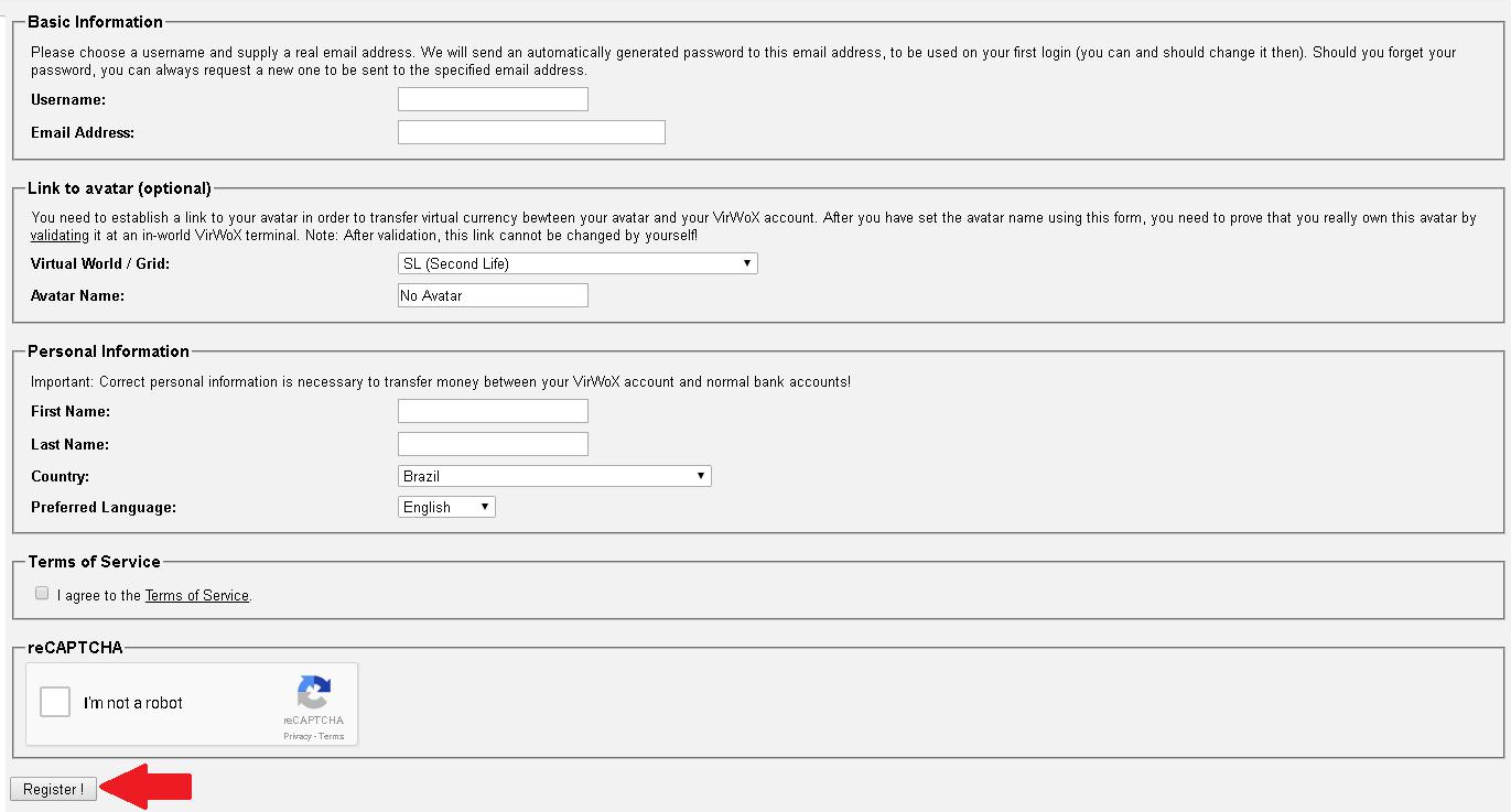 Criar conta na VirWox 2