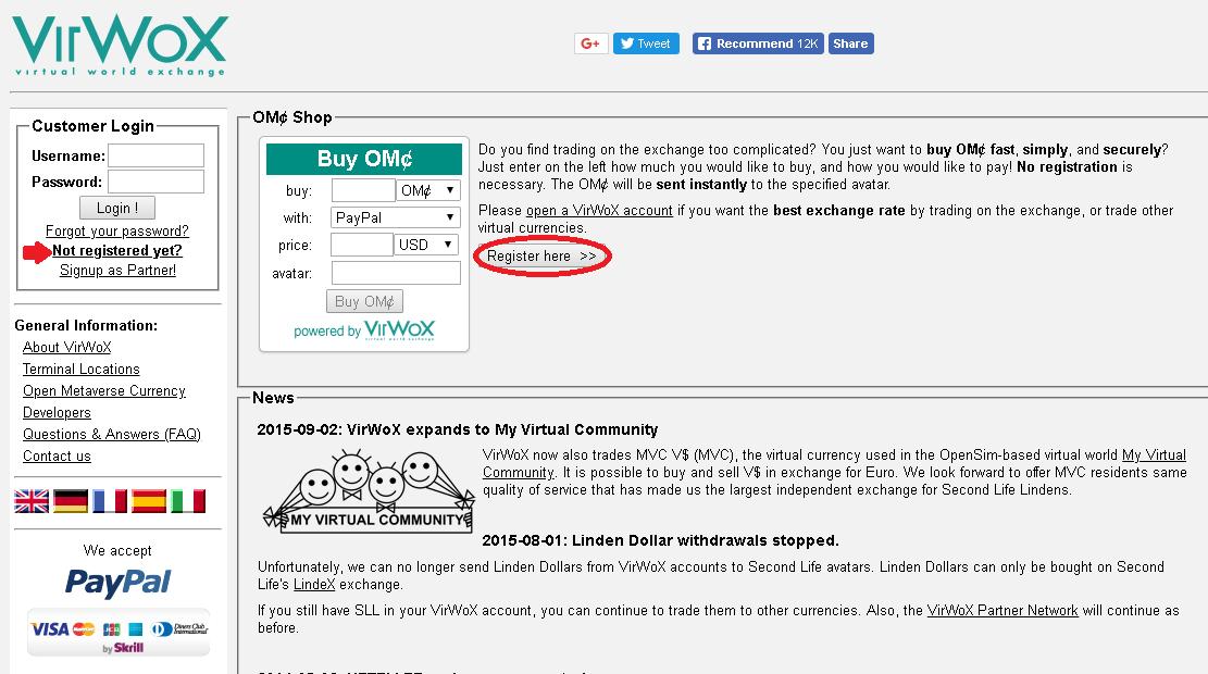 Criar conta na VirWox
