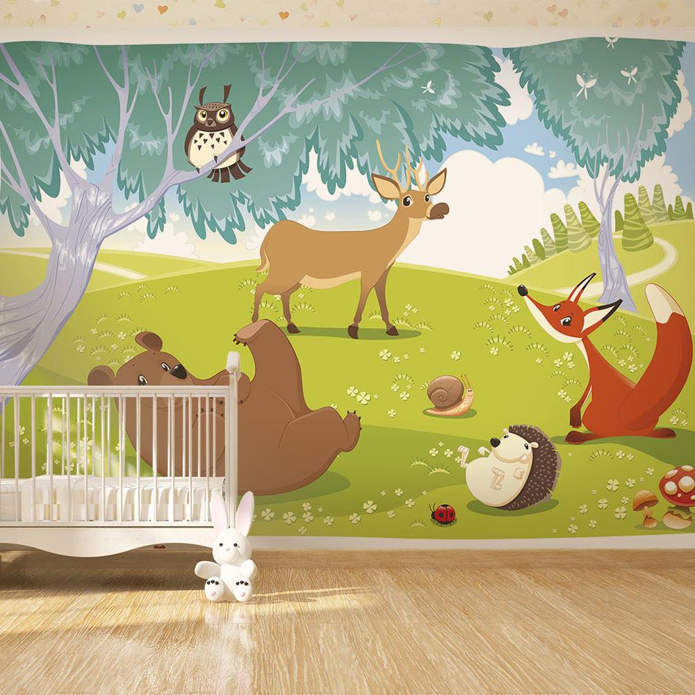 Mappa verde fotomurali az località carta da parati bambini camera da letto della scuola materna foto decorazione domestica. Carta Da Parati Gli Animali Del Bosco Fotomurale Carta Parati