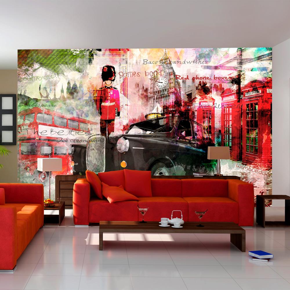 Per muro carta adesiva per pareti cucina bagno moderna pietra 40cmx2m. Carta Da Parati Vie Di Londra In Rosso Fotomurale Carta Parati
