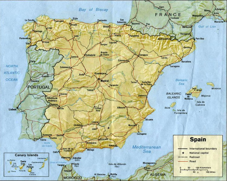 Maps of Spain   Carte monde org Map of Spain relief