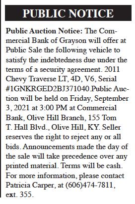 Public Notice: Public Auction