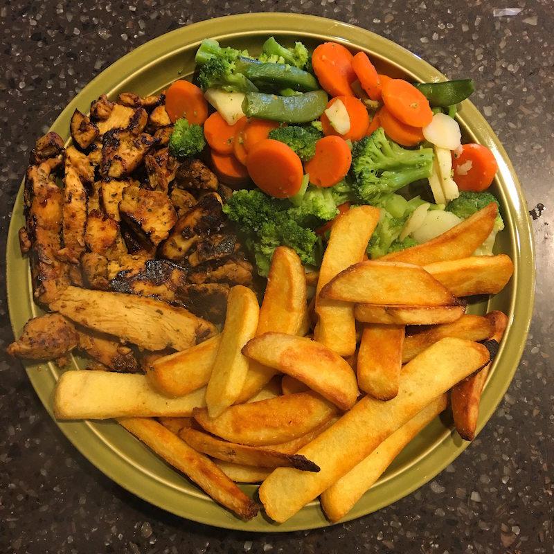 (1,065 calories - 113g carbs, 25g fat, 97g protein)