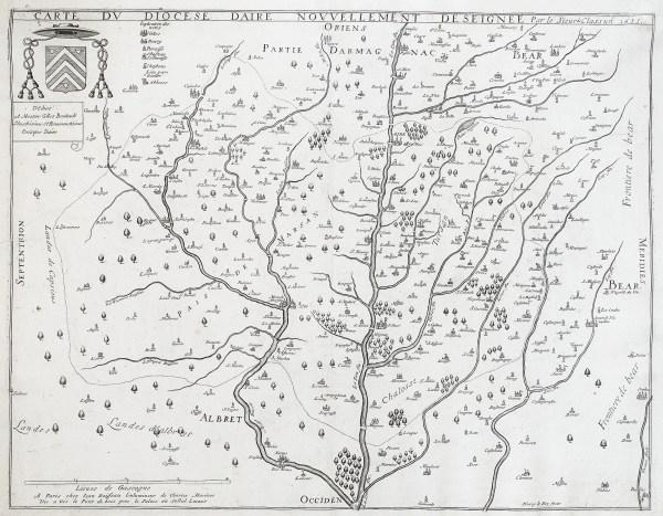 Carte géographique ancienne du Diocèse d'Aire - mont de Marsan