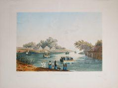 Gravure ancienne - Rivière de Yanaon - Pondichéry
