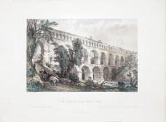 Gravure ancienne; Le Pont du Gard
