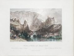 Gravure ancienne de la Fontaine du Vaucluse