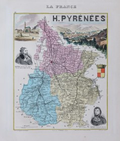 Carte géographique ancienne du département des Hautes Pyrénées