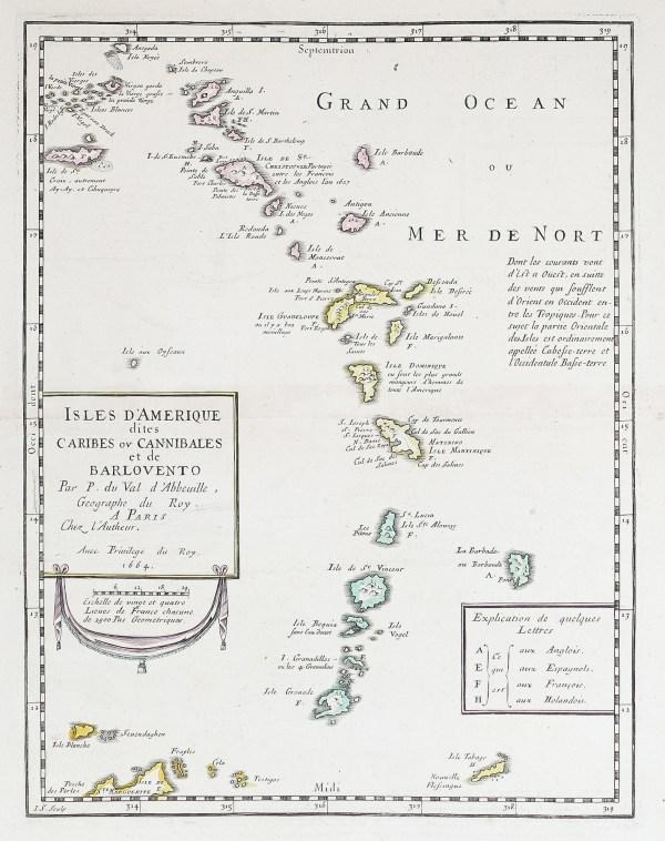 Carte géographique ancienne des iles d'Amérique - Saint Barthélémy