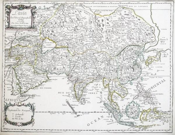 Antique map Asia - Carte géographique ancienne de l'Asie