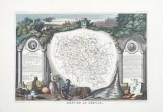 Carte géographique ancienne du département de la Creuse