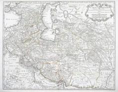 Carte ancienne - Kazakhstan - Azerbaijan - Uzbekistan - mer Caspienne