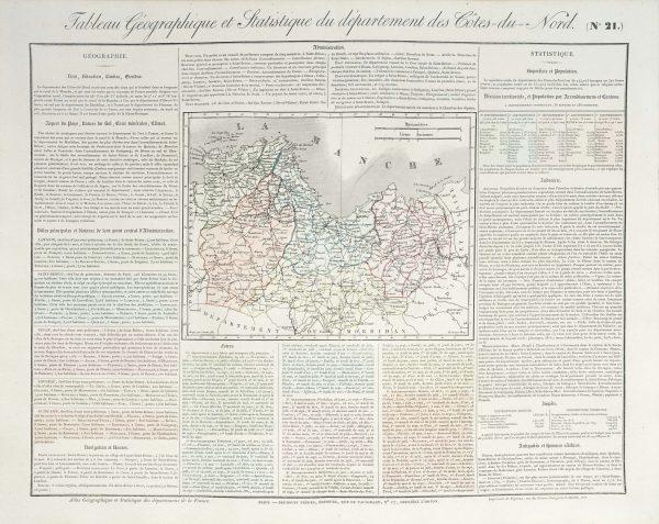 Carte originale des Côtes du Nord