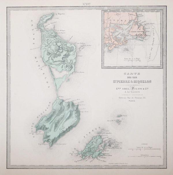 Carte géographique de Saint Pierre et Miquelon - Antique map