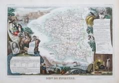 Carte géographique ancienne du département du Finistère