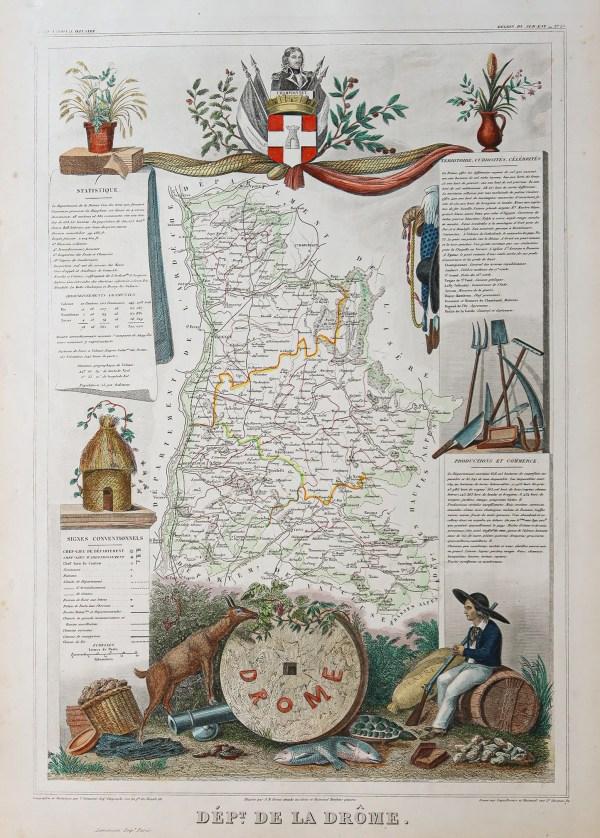 Carte géographique ancienne de la Drôme