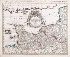 Carte géographique ancienne de la Normandie - Jaillot cartographe