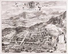 Gravure ancienne la Roche sur Foron - Bonneville - Savoie