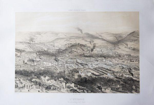 Gravure ancienne - Saint-Etienne - Voyage Aérien en France
