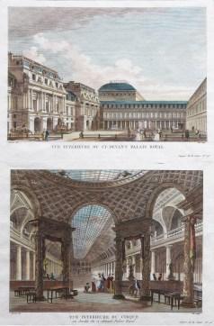 Gravure ancienne - Vue intérieure du Palais Royal & Vue intérieure du Cirque - Paris