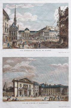 Gravure ancienne - Palais de Justice & Eglise Saint Barthélémy - Paris