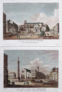 Gravure ancienne - Lyon - Vue de La Place de Consort (Place des Dominiquains) & Place des Cordeliers - Née graveur - Antique engraving