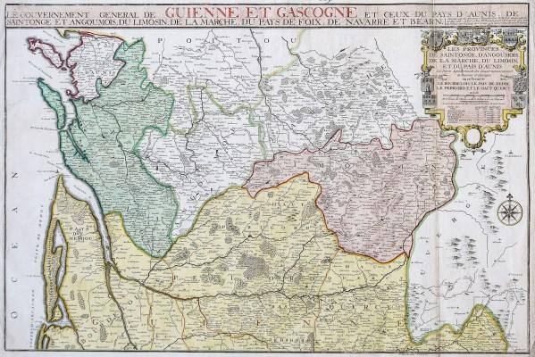 Carte ancienne du gouvernement de Guienne et Gascogne