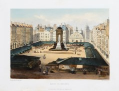 Lithographie ancienne - Marché des Innocents - Paris