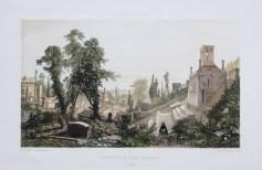 Gravure ancienne - Paris en 1860 - Cimetière du Père Lachaise