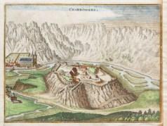 Gravure ancienne du château de Charbonnières ou château d'Aiguebelle
