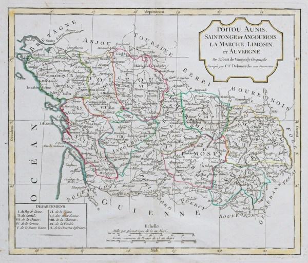 Carte géographique ancienne du Poitou - Auvergne