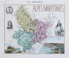 Carte géographique ancienne du département des Alpes Maritimes