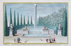 Gravure ancienne - Fontaine du Cabinet de Diane - Versailles - Jardins