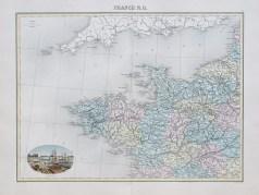 Carte géographique ancienne de la France du nord-ouest