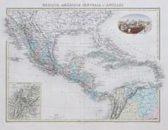 Carte géographique ancienne de l'Amérique Centrale - Mexique et Antilles