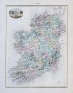 Carte géographique ancienne de l'Irlande