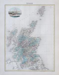 Carte géographique ancienne de l'Ecosse