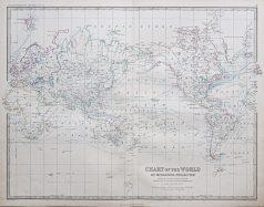Original antique map of the World