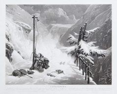 L'avalanche - Gravure ancienne
