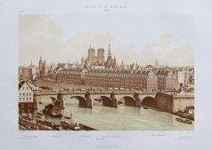 Gravure ancienne de la Cité et du Pont-Neuf
