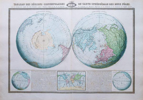 Carte céleste ancienne des 2 pôles
