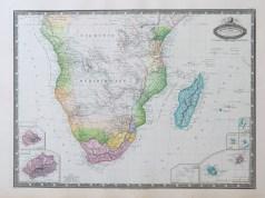 Carte géographique ancienne de l'Afrique méridionale