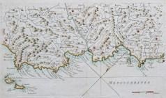 Carte marine ancienne de la baie de Cannes