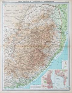 Carte géographique ancienne de l'Afrique du Sud
