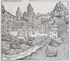 Gravure ancienne de la ville de Lyon